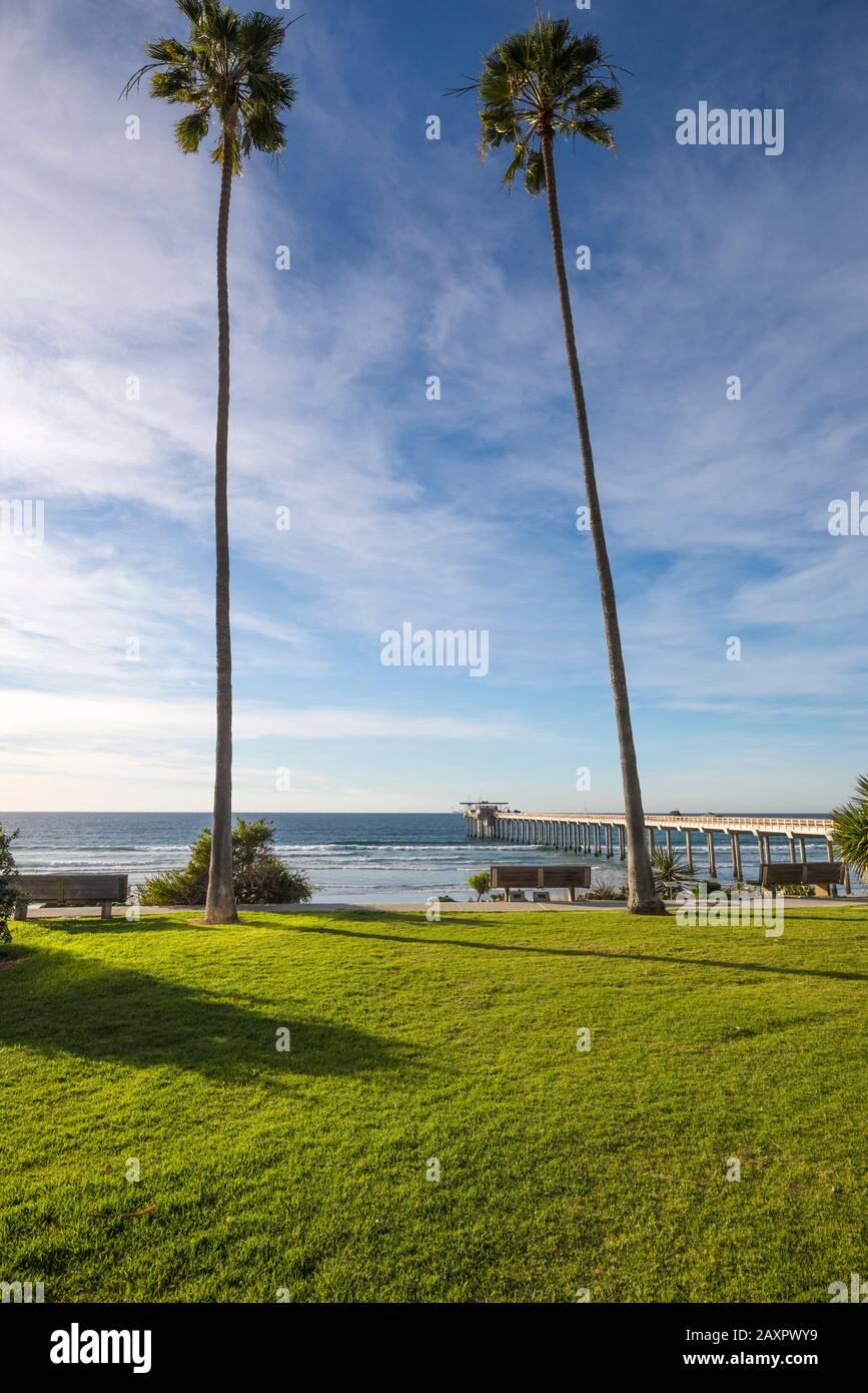 Winter coastal scene with a view of Scripps Pier. La Jolla, CA, USA. This view is from the grounds of the Scripps Institute Of Oceanography. Stock Photo