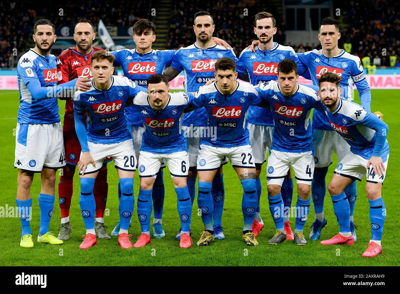 Milan Italy 12 February 2020 Players Of Ssc Napoli Pose For A Team Photo Prior To