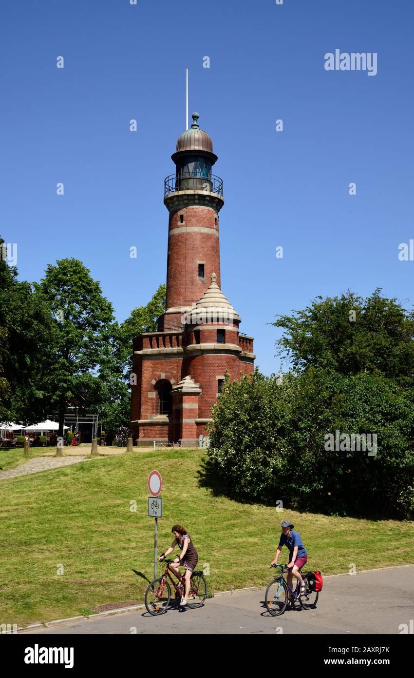Europe, Germany, Schleswig Holstein, Kiel, Kieler Förde, Baltic Sea, lighthouse Holtenau, entrance Kiel canal, inaugurated on 21 June 1895, Stock Photo
