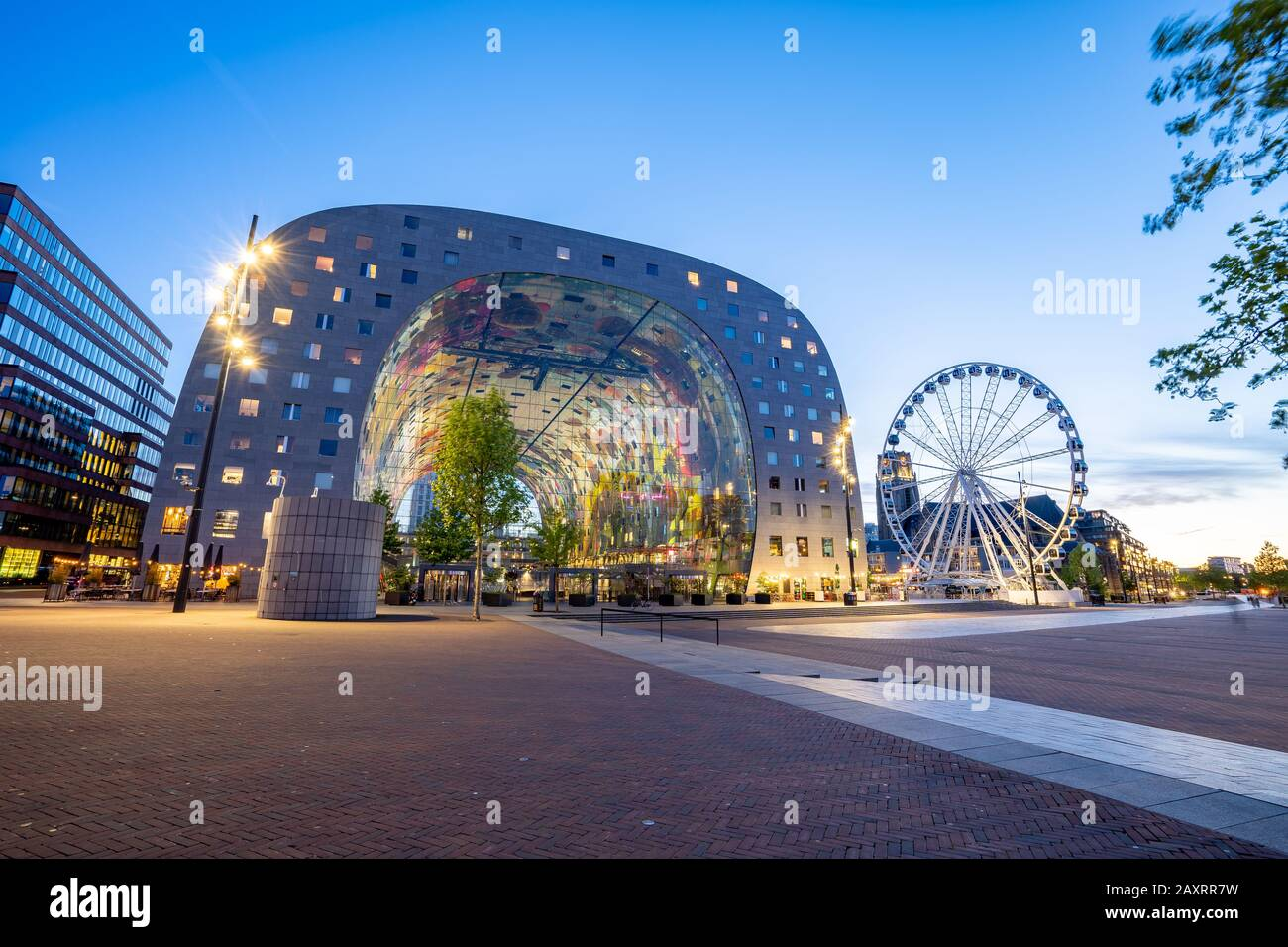 Rotterdam, Netherlands - May 13, 2019: View of Markthal at night in Rotterdam city, Netherlands. Stock Photo
