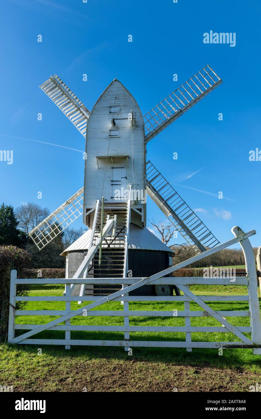 Lowfield Heath Windmill, a grade II listed post mill at Charlwood, Surrey, England, which has been restored to working order. Visitor attraction, UK Stock Photo