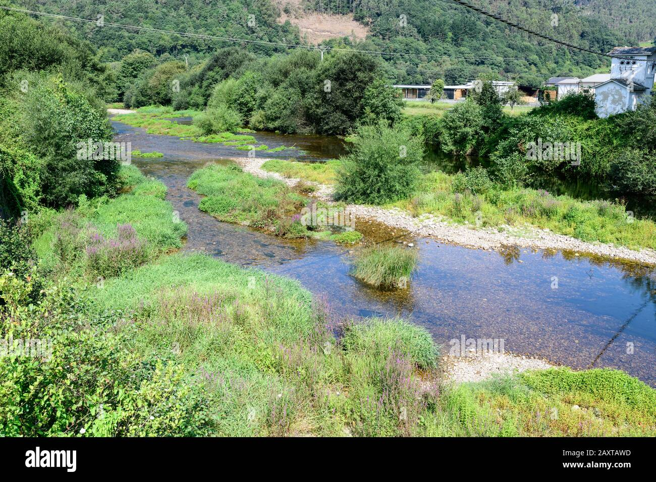 mountain river with a lot of flow due to frequent rains in asturias Stock Photo