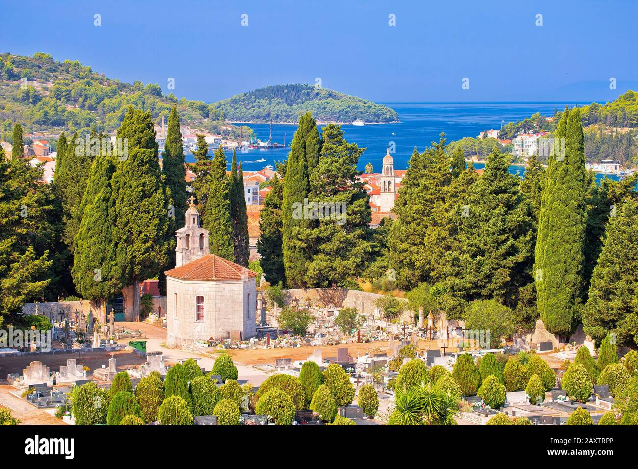Vela Luka on Korcula island bay and cemetery view, archipelago of southern Dalmatia, Croatia Stock Photo