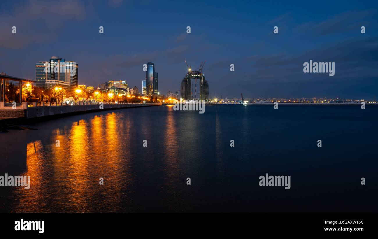 Baku, Azerbaijan 27 January 2020 - Night view of Baku Stock Photo