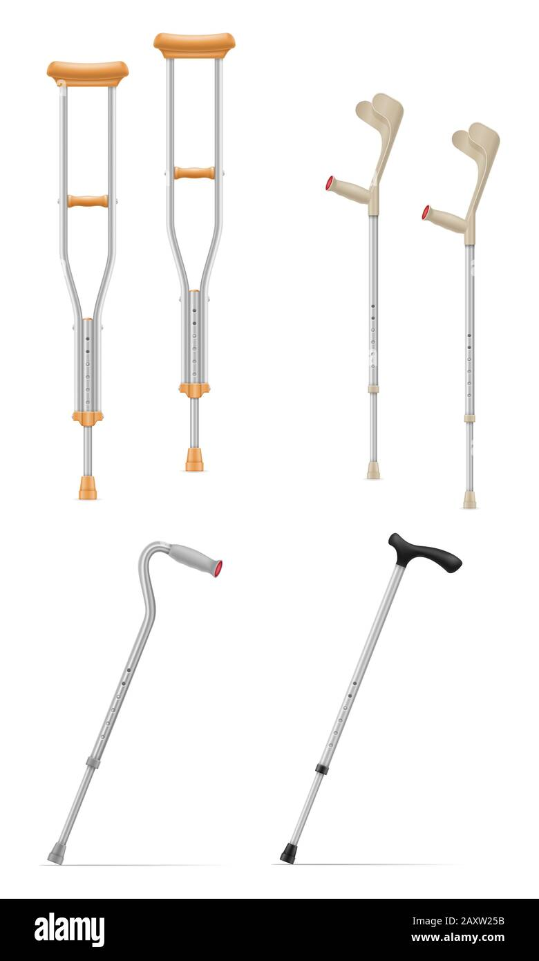 medical telescopic stick crutches vector illustration isolated on white background Stock Photo