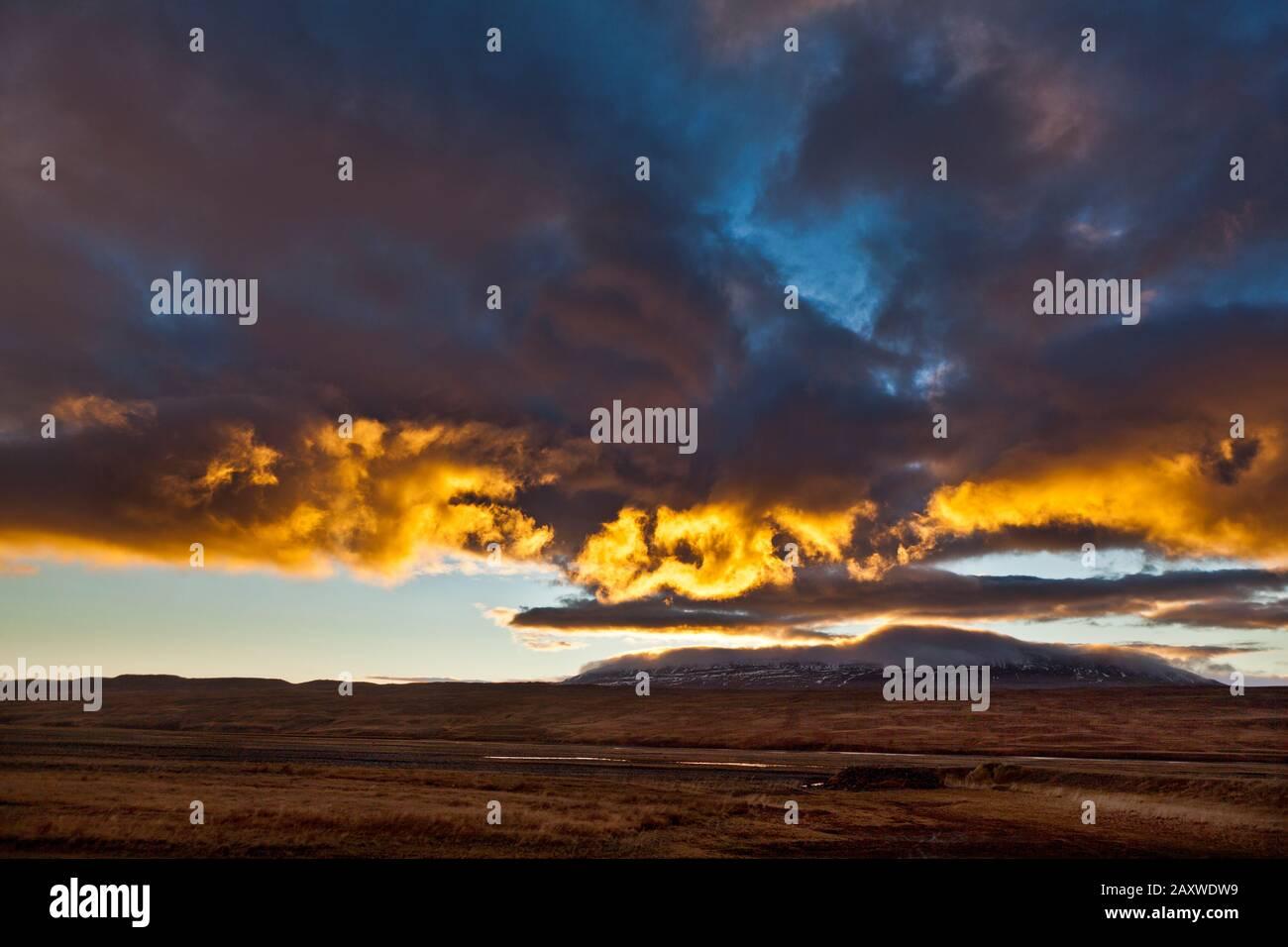 Sunset, Langidalur, Northern Iceland Stock Photo