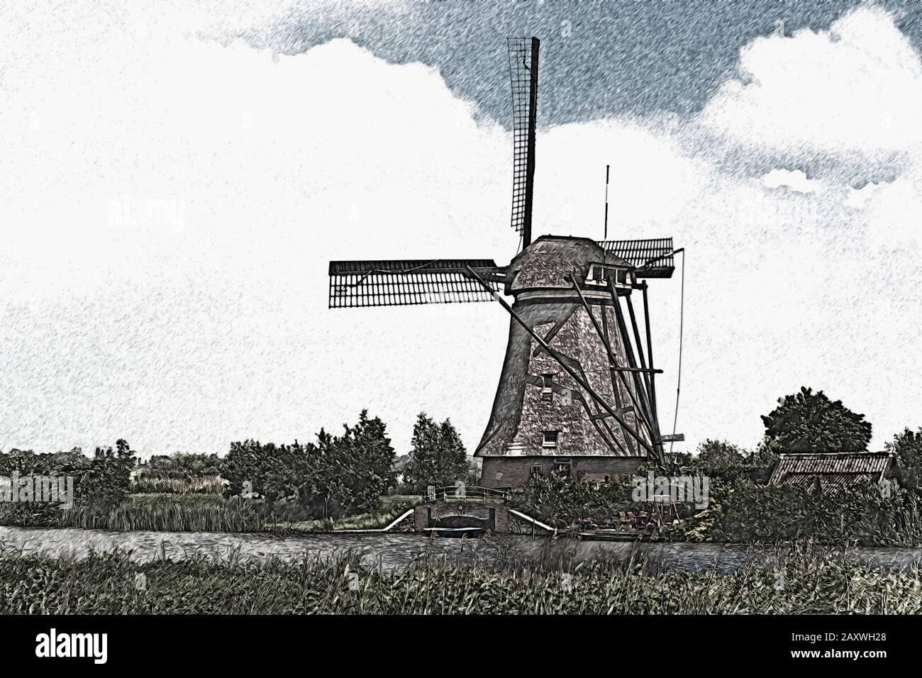 The windmills of Kinderdijk were buildt in the 18th century, Kinderdijk, South Holland, Netherlands, Europe Stock Photo