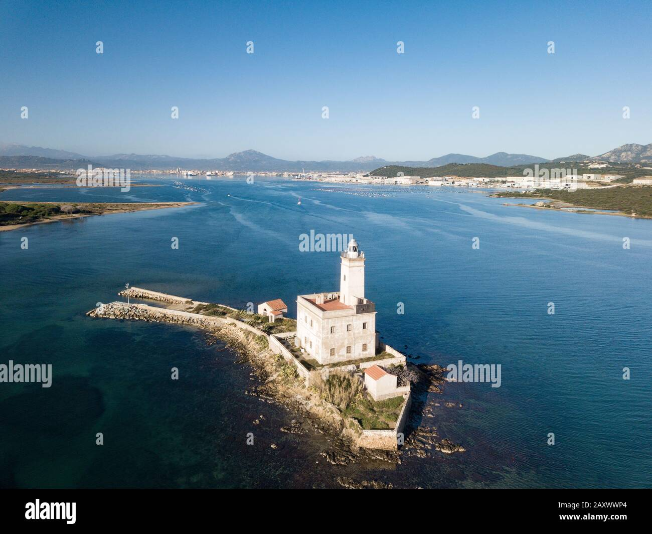Aerial view of the Lighthouse in the Gulf of Olbia Stock Photo