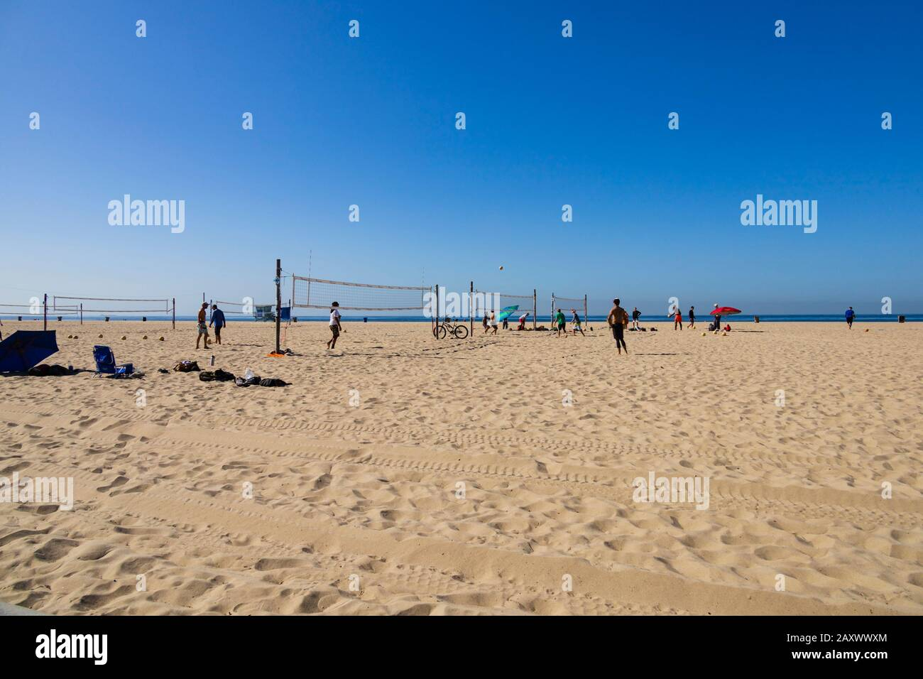 Playing volleyball on the beach. Santa Monica, California, United States of America. USA. October 2019 Stock Photo