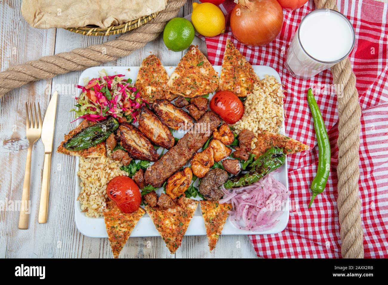 Turkish And Arabic Traditional Ramadan Mix Kebab Plate Inside Adana Urfa Chicken Lamb Liver And Beef On Bread And Lahmacun Stock Photo Alamy