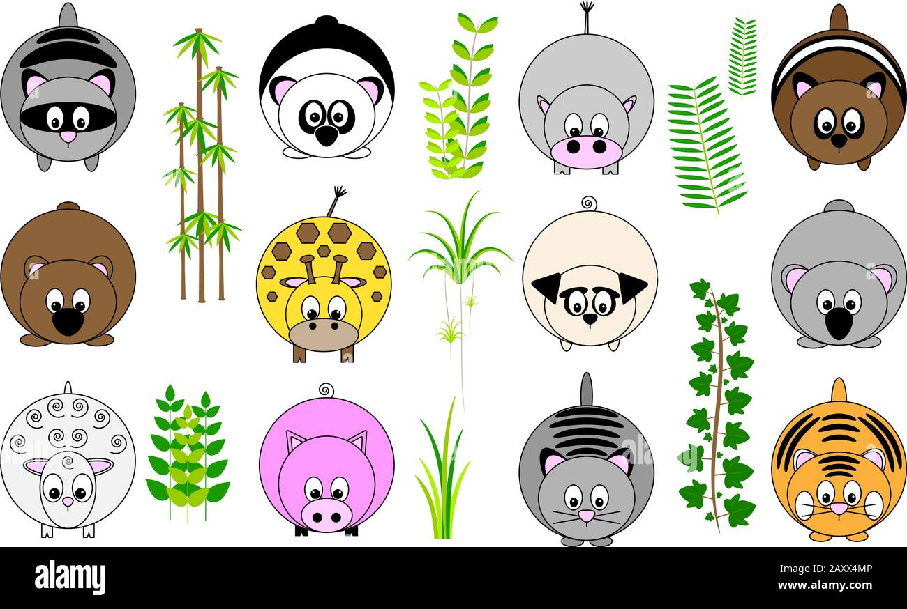 collection of twelve cute funny vector illustrated sticker icon buttons of round animals with tail and paws, and foliage leaves Stock Vector