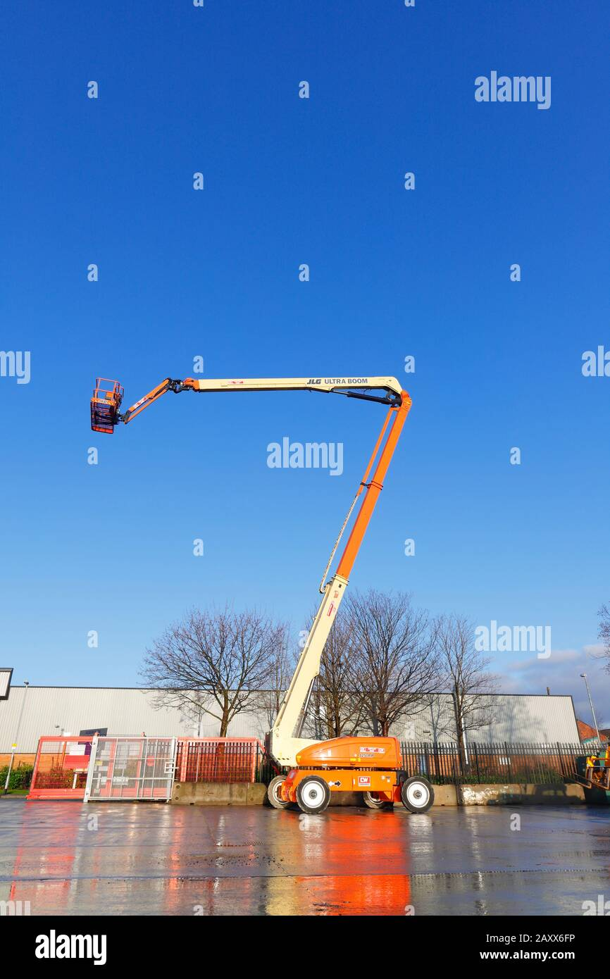 JLG 1250 AJP Ultra Boom Articulated Telescopic Boom Lift which reaches 125ft Stock Photo