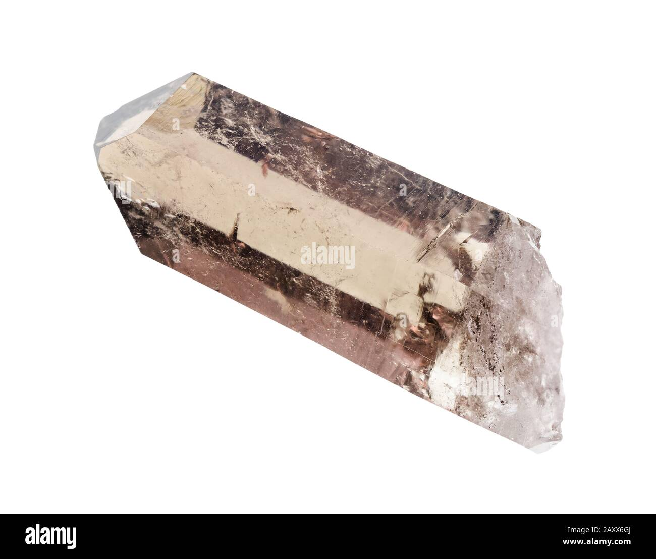 rough crystal of smoky quartz cutout on white background Stock Photo