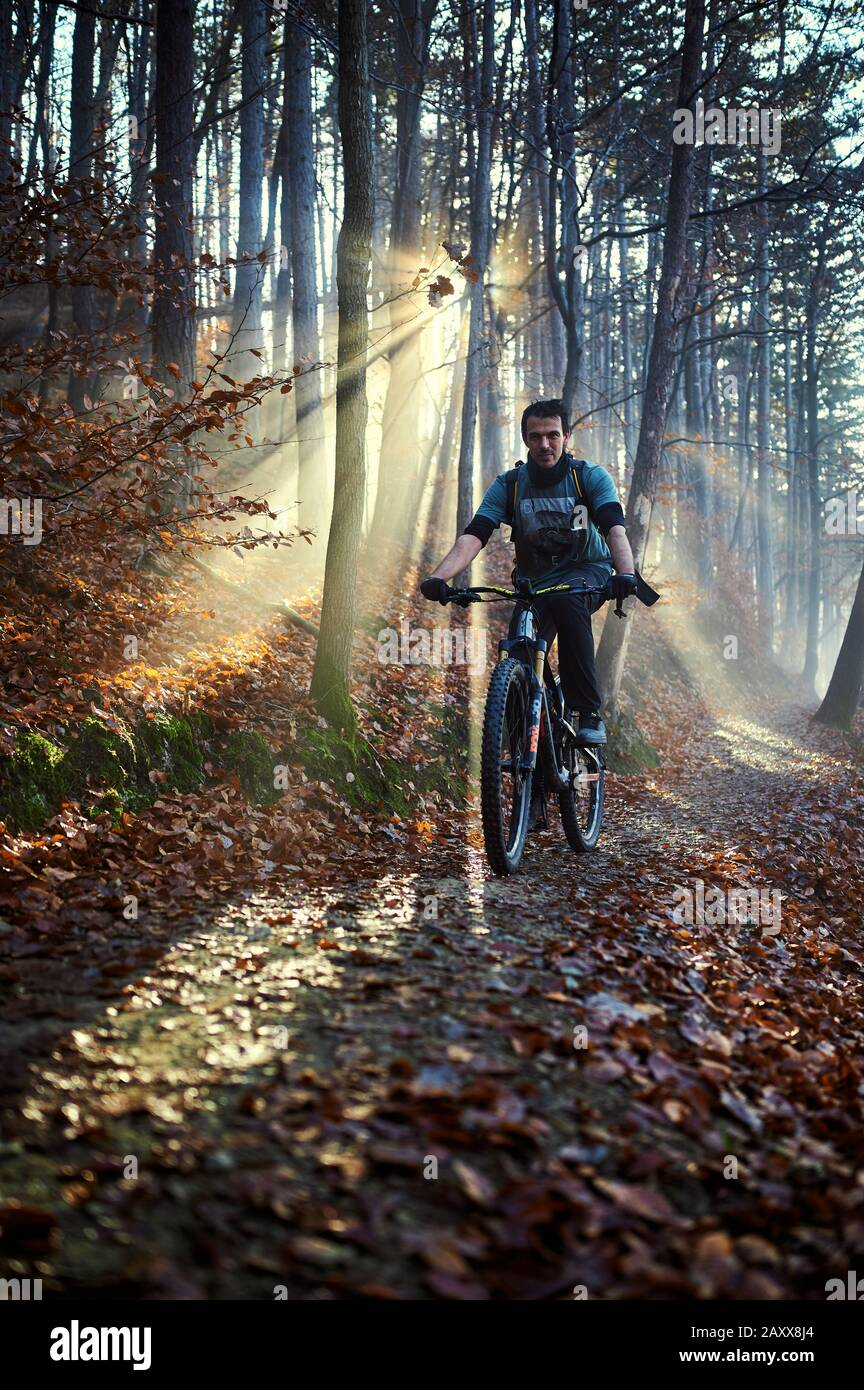Mountain biking on Medvednica, near Zagreb in Croatia Stock Photo