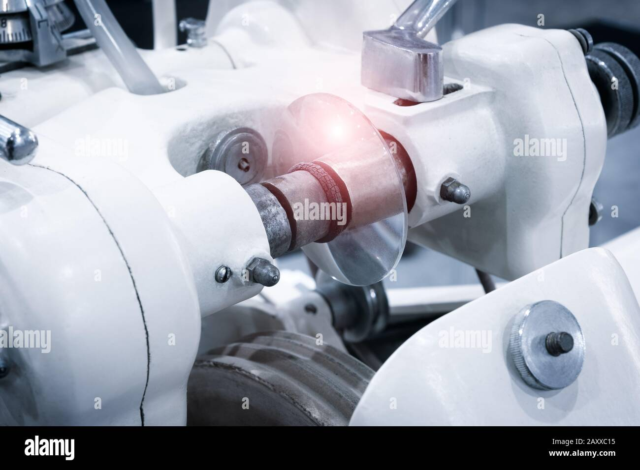 Lens manufacturing in modern laboratory. Stock Photo