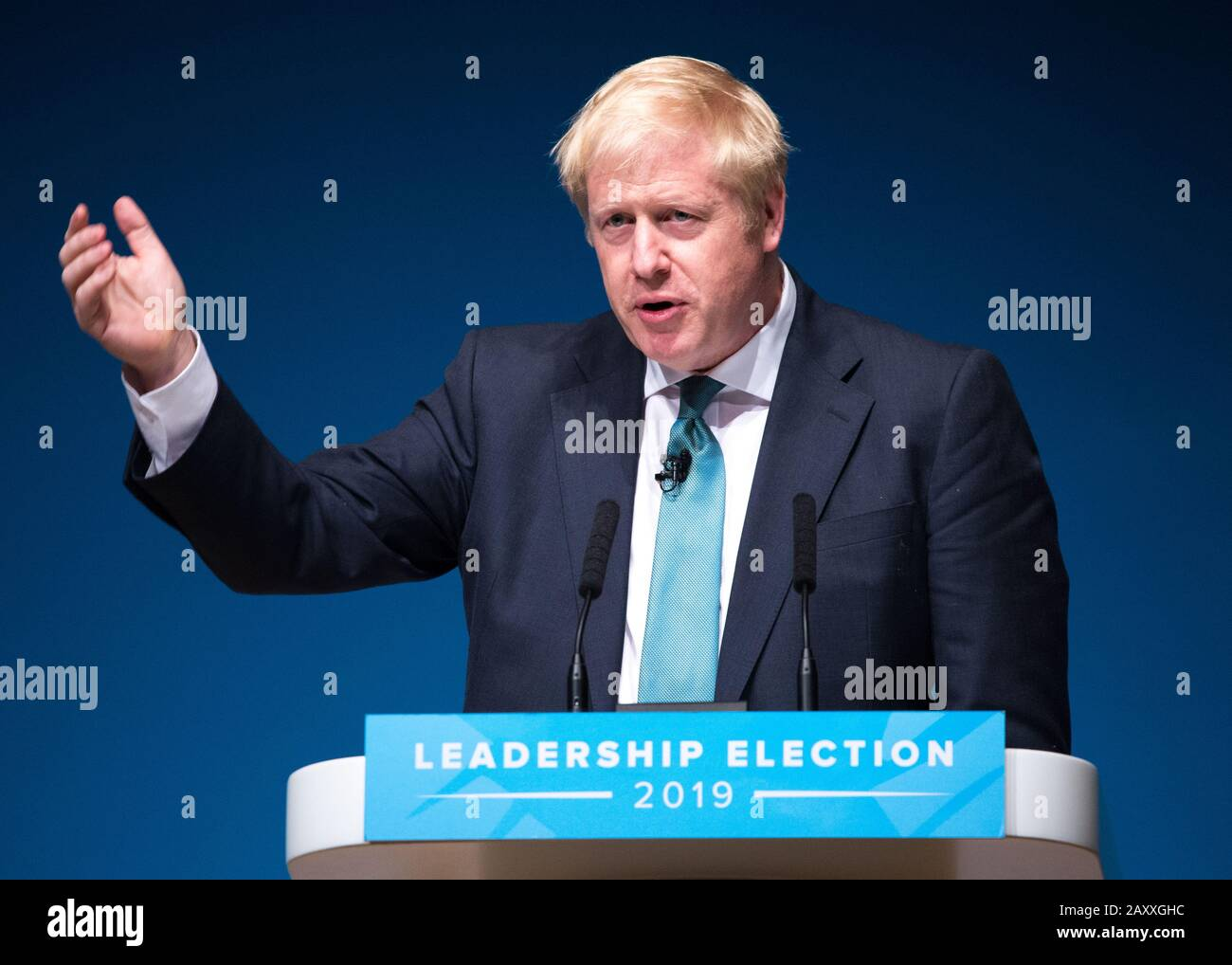 Perth, UK. 5 July 2019.  PICTURED: Boris Johnson MP Conservative leadership contenders Boris Johnson and Jeremy Hunt are to face Scottish party members at a hustings event in Perth. Credit: Colin Fisher/Alamy Live News  The hustings in Perth is the latest in a series of events around the UK which see the two candidates make a speech to local members before taking questions from a host and the audience.  Party members should receive their ballots in the coming days, with the winner to be announced on 23 July. Stock Photo