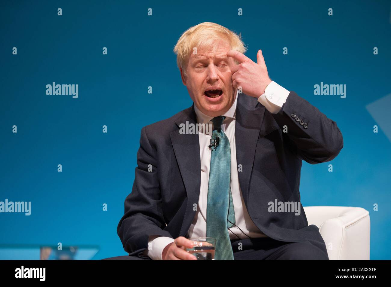 Perth, UK. 5 July 2019.  PICTURED: Boris Johnson MP Conservative leadership contenders Boris Johnson and Jeremy Hunt are to face Scottish party members at a hustings event in Perth.  The hustings in Perth is the latest in a series of events around the UK which see the two candidates make a speech to local members before taking questions from a host and the audience.  Party members should receive their ballots in the coming days, with the winner to be announced on 23 July. Credit: Colin Fisher/Alamy Live News Stock Photo