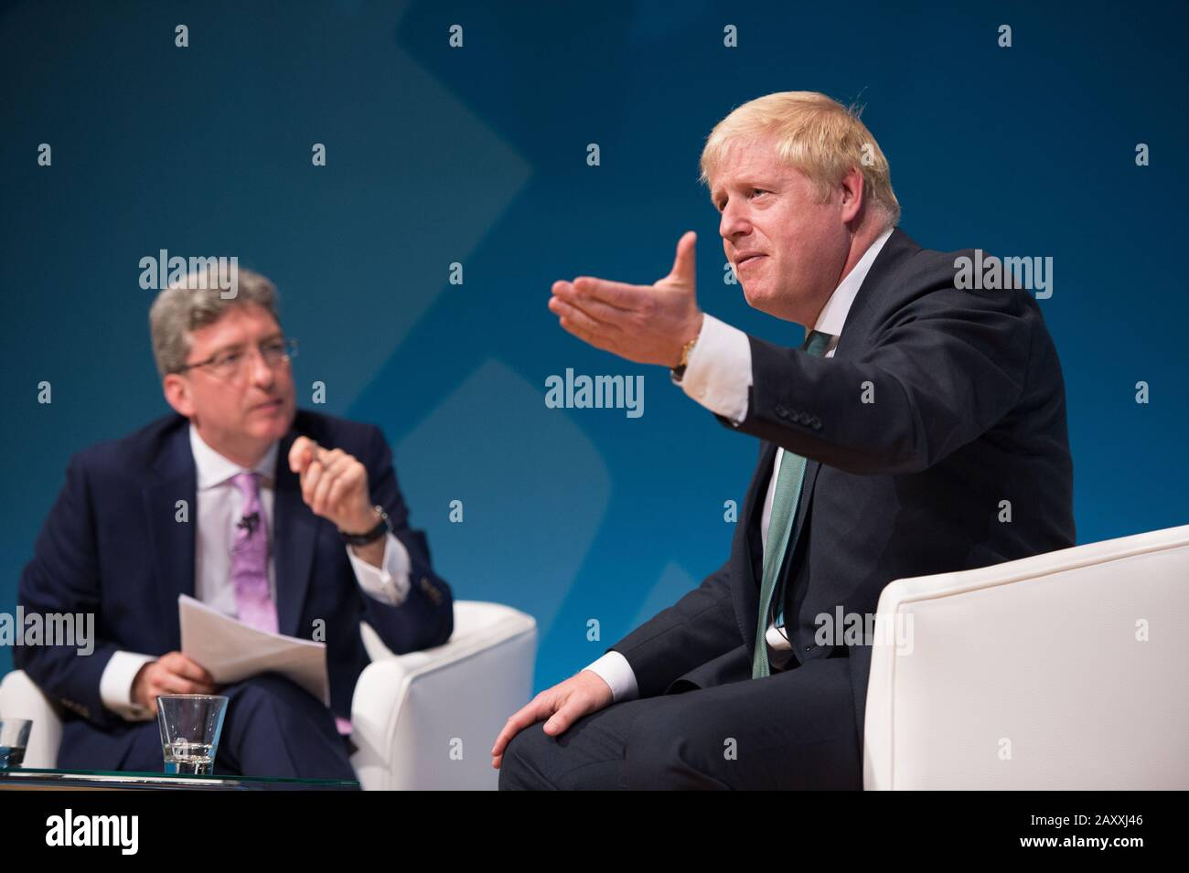 Perth, UK. 5 July 2019.  PICTURED: Colin Mackay, Host and STV Political Editor (left) Boris Johnson MP (right).  Conservative leadership contenders Boris Johnson and Jeremy Hunt are to face Scottish party members at a hustings event in Perth.  The hustings in Perth is the latest in a series of events around the UK which see the two candidates make a speech to local members before taking questions from a host and the audience.  Party members should receive their ballots in the coming days, with the winner to be announced on 23 July. Credit: Colin Fisher/Alamy Live News Stock Photo