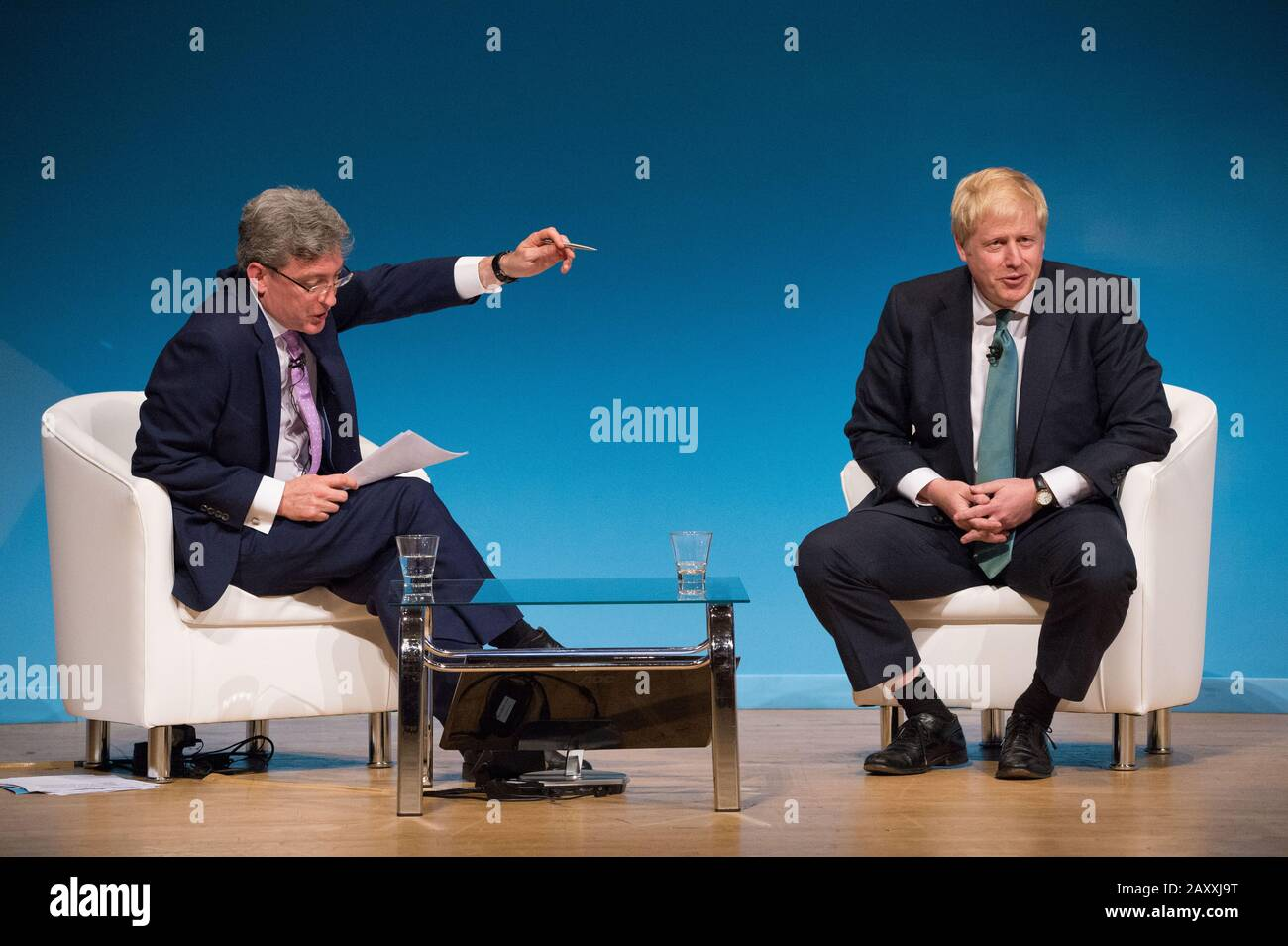 Perth, UK. 5 July 2019.  PICTURED: Colin Mackay, Host and STV Political Editor (left) Boris Johnson MP (right).  Conservative leadership contenders Boris Johnson and Jeremy Hunt are to face Scottish party members at a hustings event in Perth.  The hustings in Perth is the latest in a series of events around the UK which see the two candidates make a speech to local members before taking questions from a host and the audience.  Party members should receive their ballots in the coming days, with the winner to be announced on 23 July. Stock Photo