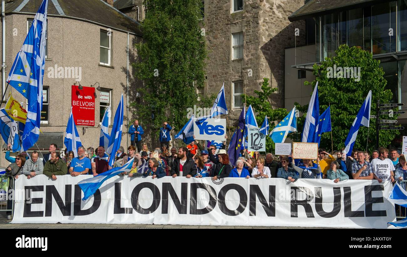 Perth, UK. 5 July 2019.  PICTURED: Protest outside the Concert Hall where the hustings were taking place. Conservative leadership contenders Boris Johnson and Jeremy Hunt are to face Scottish party members at a hustings event in Perth.  The hustings in Perth is the latest in a series of events around the UK which see the two candidates make a speech to local members before taking questions from a host and the audience.  Party members should receive their ballots in the coming days, with the winner to be announced on 23 July. Credit: Colin Fisher/Alamy Live News Stock Photo