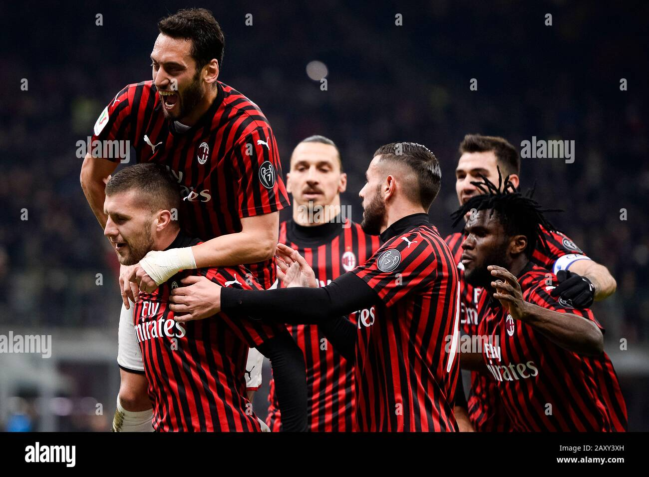 Milan Italy 13 February 2020 Ante Rebic L Of Ac Milan Celebrates With His Teammates After