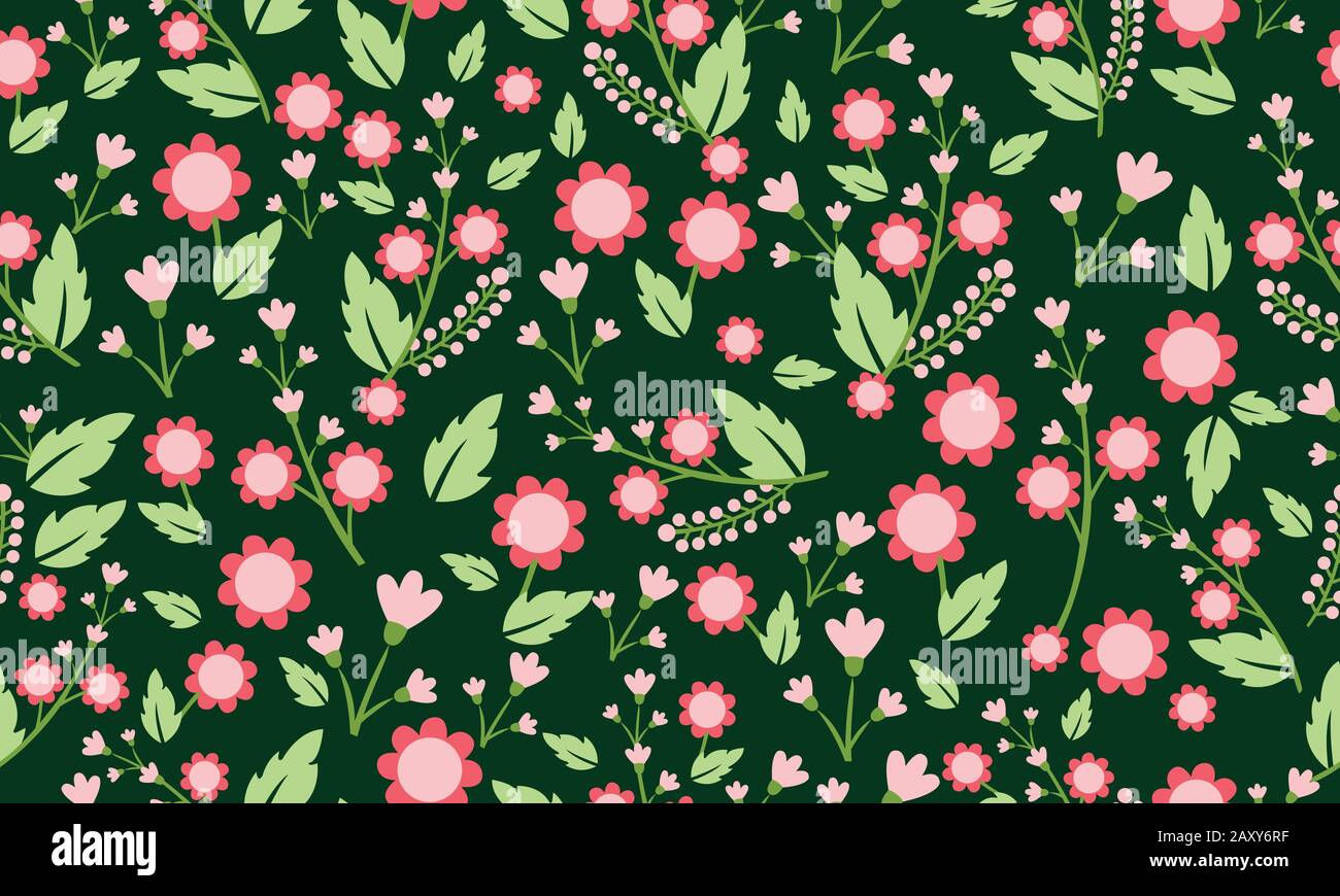 Elegant Wallpaper For Spring Floral Pattern Background With Leaf