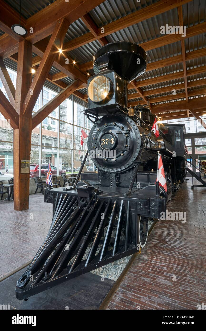 Restored CPR Engine 374 at the Roundhouse in Yaletown, Vancouver, British Columbia, Canada Stock Photo