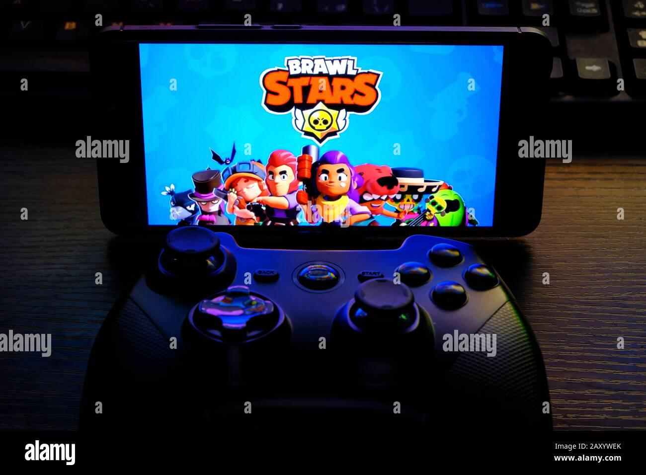 Kostanay Kazakhstan February 12 2020 Joystick And Mobile Phone With The Logo Of The Popular Game Brawl Stars From Supercell Stock Photo Alamy