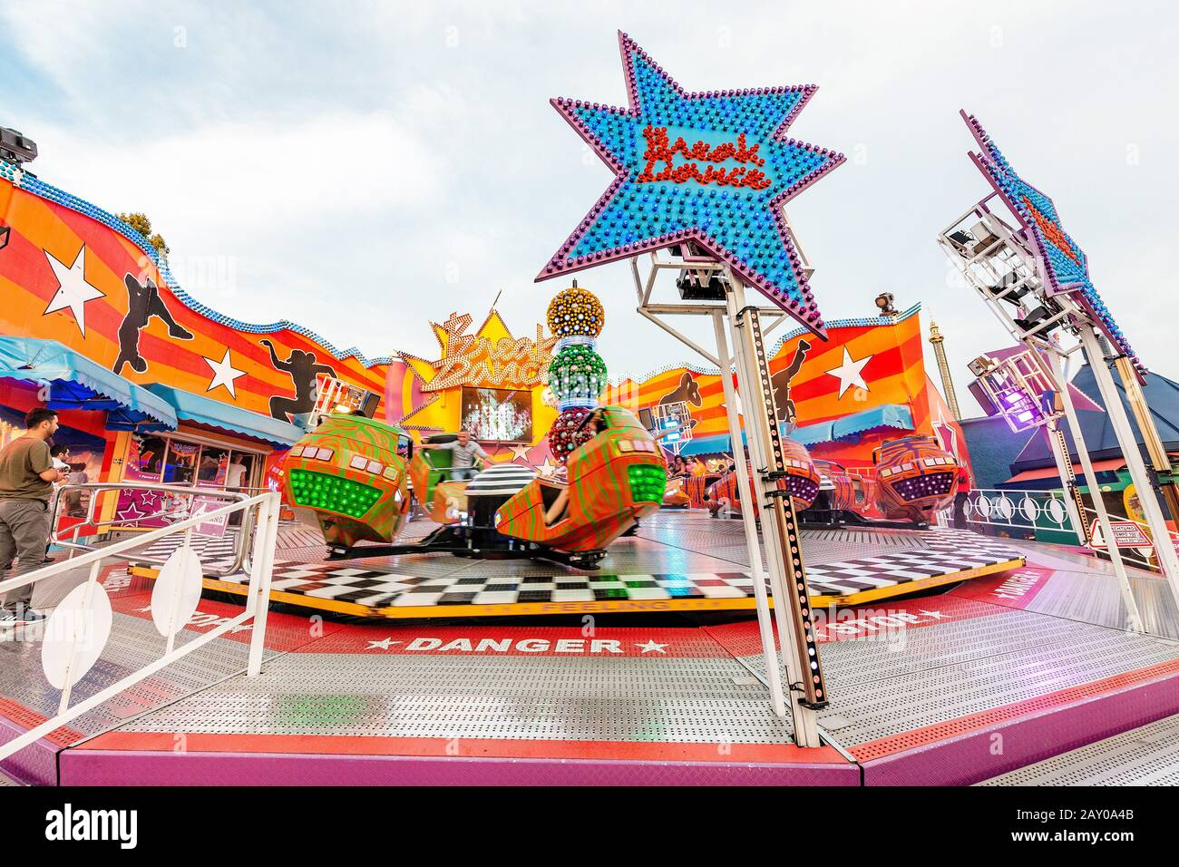 20 July 2019, Vienna, Austria: Fun adults and children attractions in the iconic Prater Park in Vienna Stock Photo