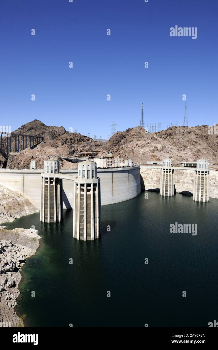 Hoover Dam at Lake Mead, near Las Vegas, Nevada, South West USA Stock Photo