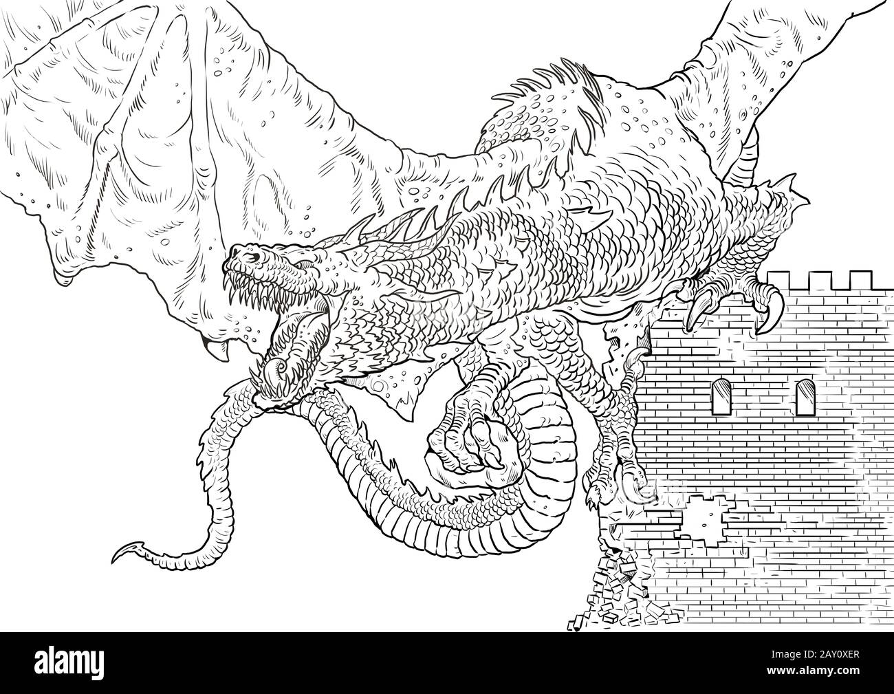 dragon coloring page outline illustration dragon drawing