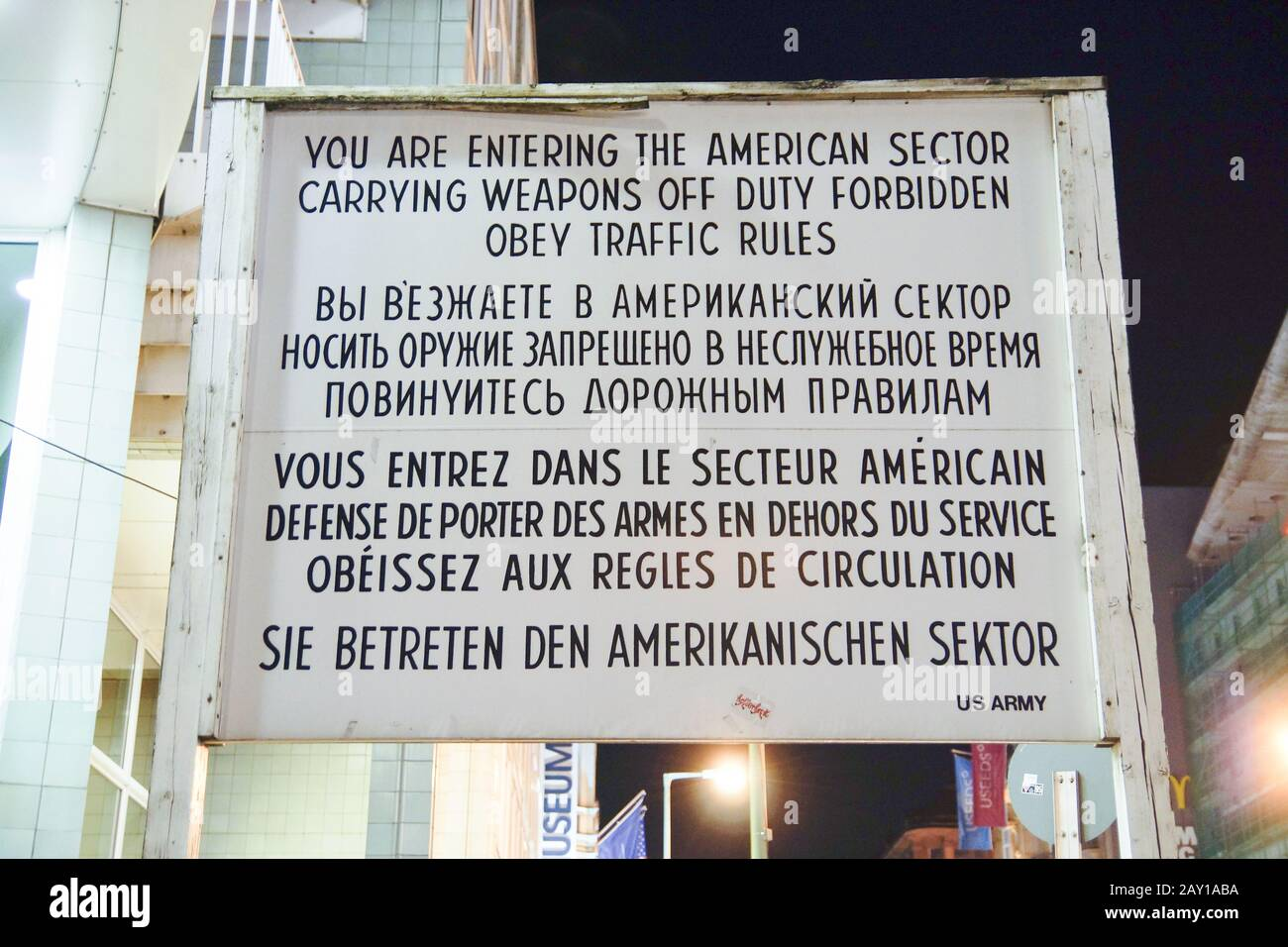 Information sign by Checkpoint Charlie in Berlin, Stock Photo