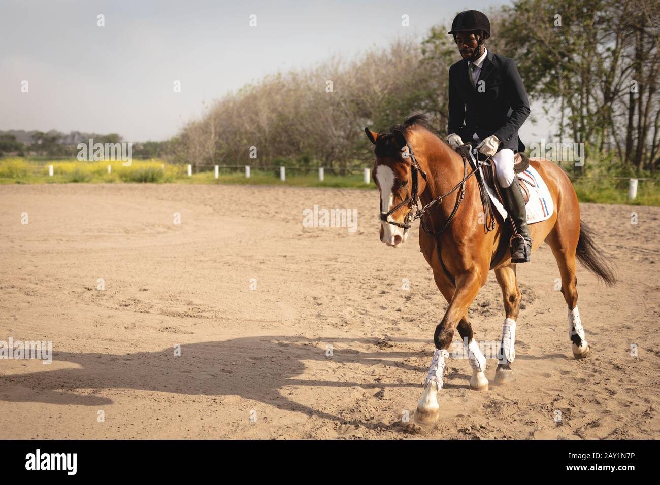 Man Riding His Dressage Horse On A Show Jumping Event Stock Photo Alamy