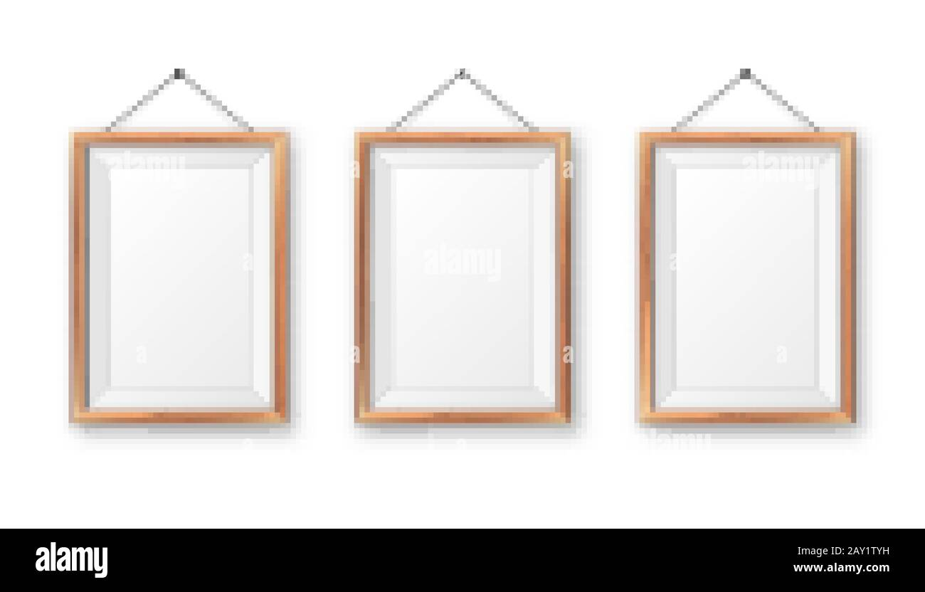Realistic Hanging On A Wall Blank Wooden Picture Frame Modern