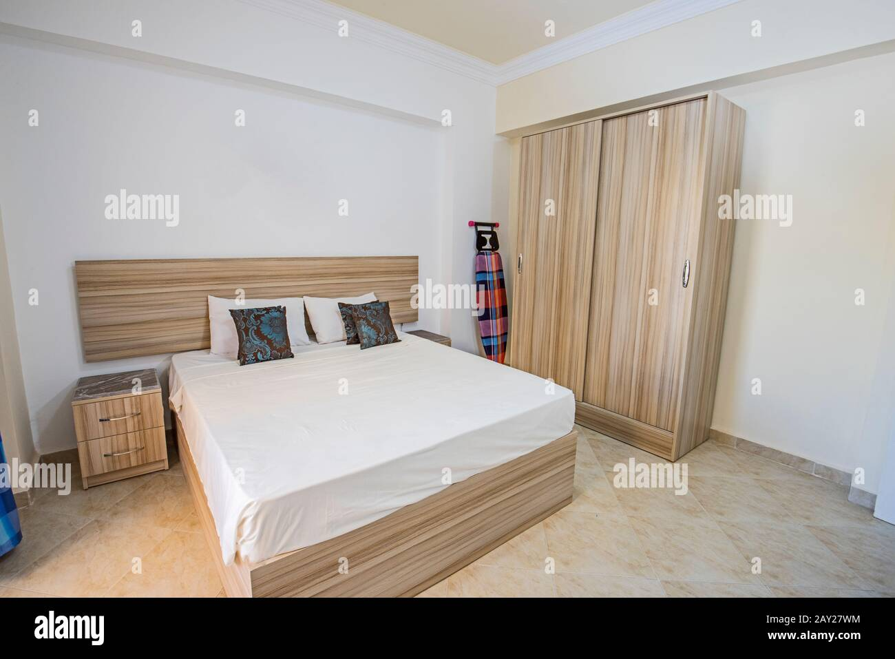Interior Design Decor Furnishing Of Luxury Apartment Bedroom With Double Bed And Wardrobe Stock Photo Alamy