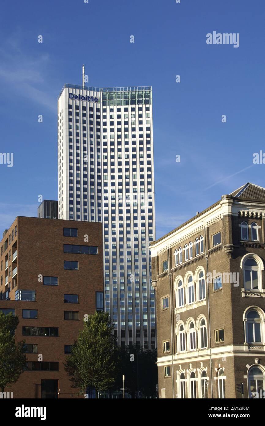 Skyline in Rotterdam, Kop van Zuid (with Maastoren Stock Photo