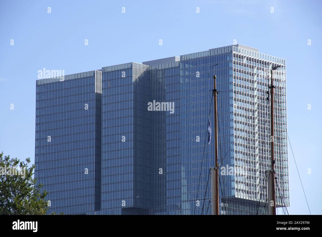 Skyline in Rotterdam, Kop van Zuid, De Rotterdam Stock Photo