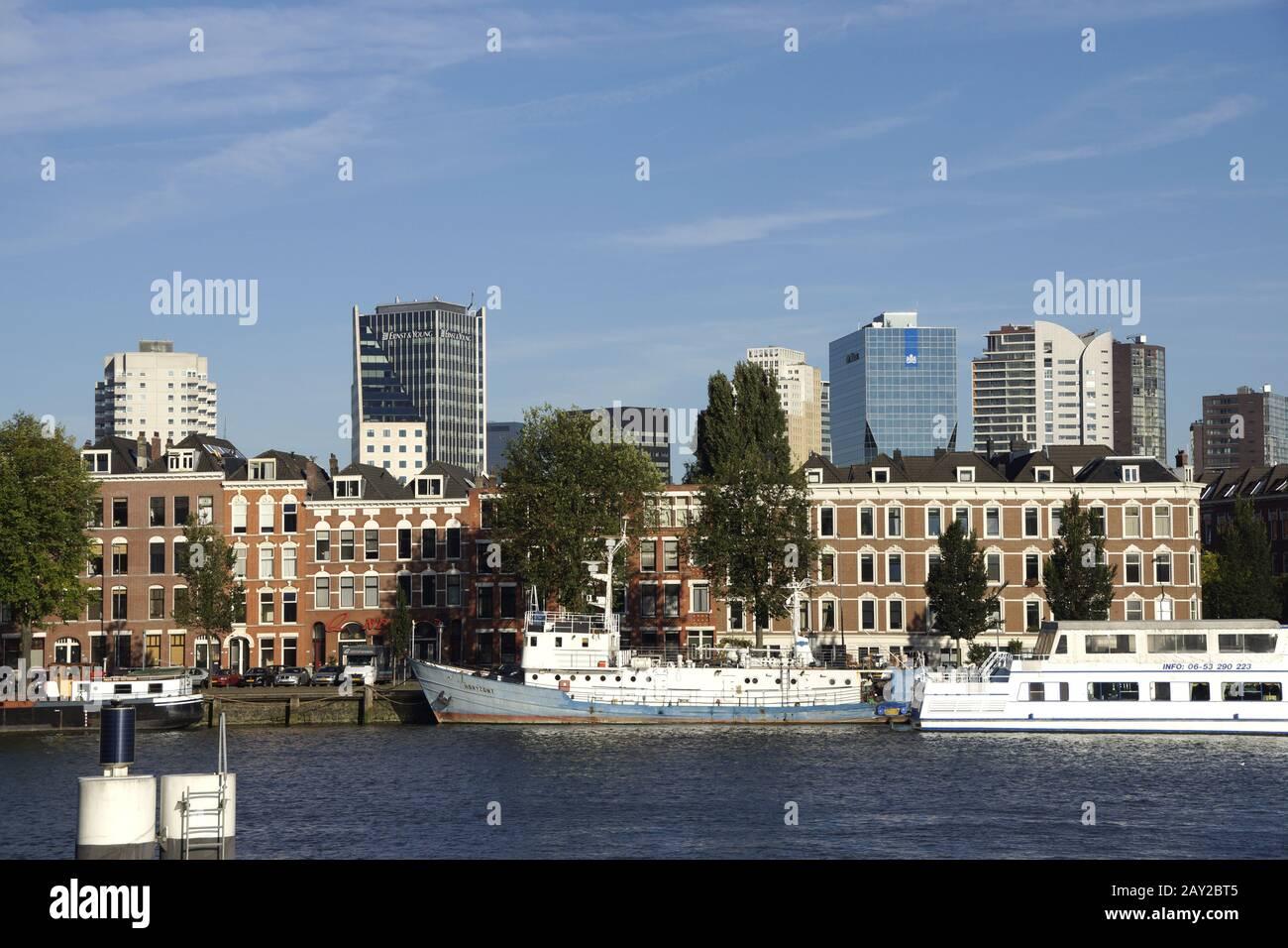 Skyline in Rotterdam, Stadsdriehoek and Noordereil Stock Photo