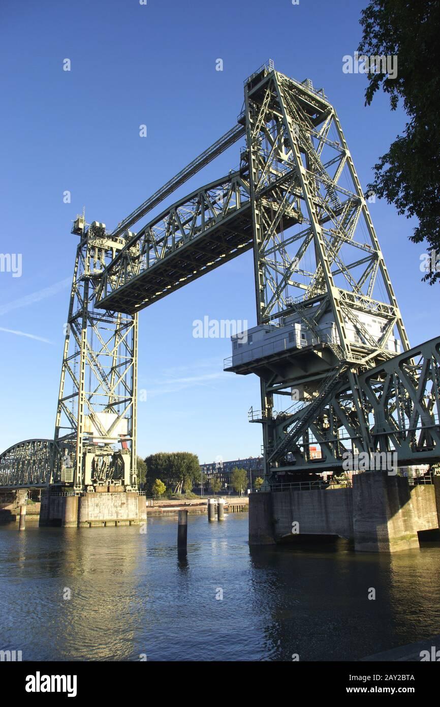 Liftbridge Koningshavenbridge De Hef in Rotterdam, Stock Photo