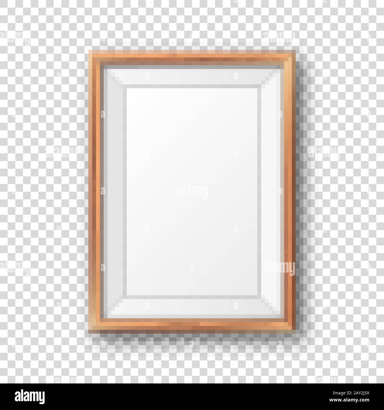 Realistic Blank Wooden Picture Frame Modern Poster Mockup Empty