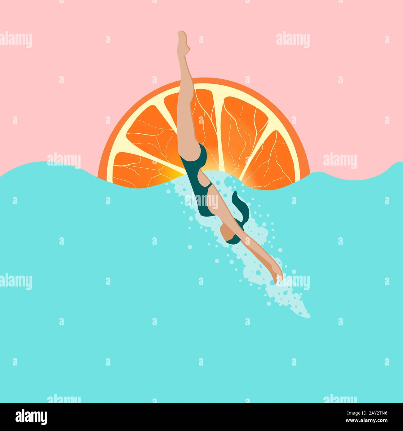 swim watercolor illustration with bright orange sun summer vibes modern colorful design copyspace for ad wallpaper background for your device summertime holidays resort vacation concept 2AY2TN6