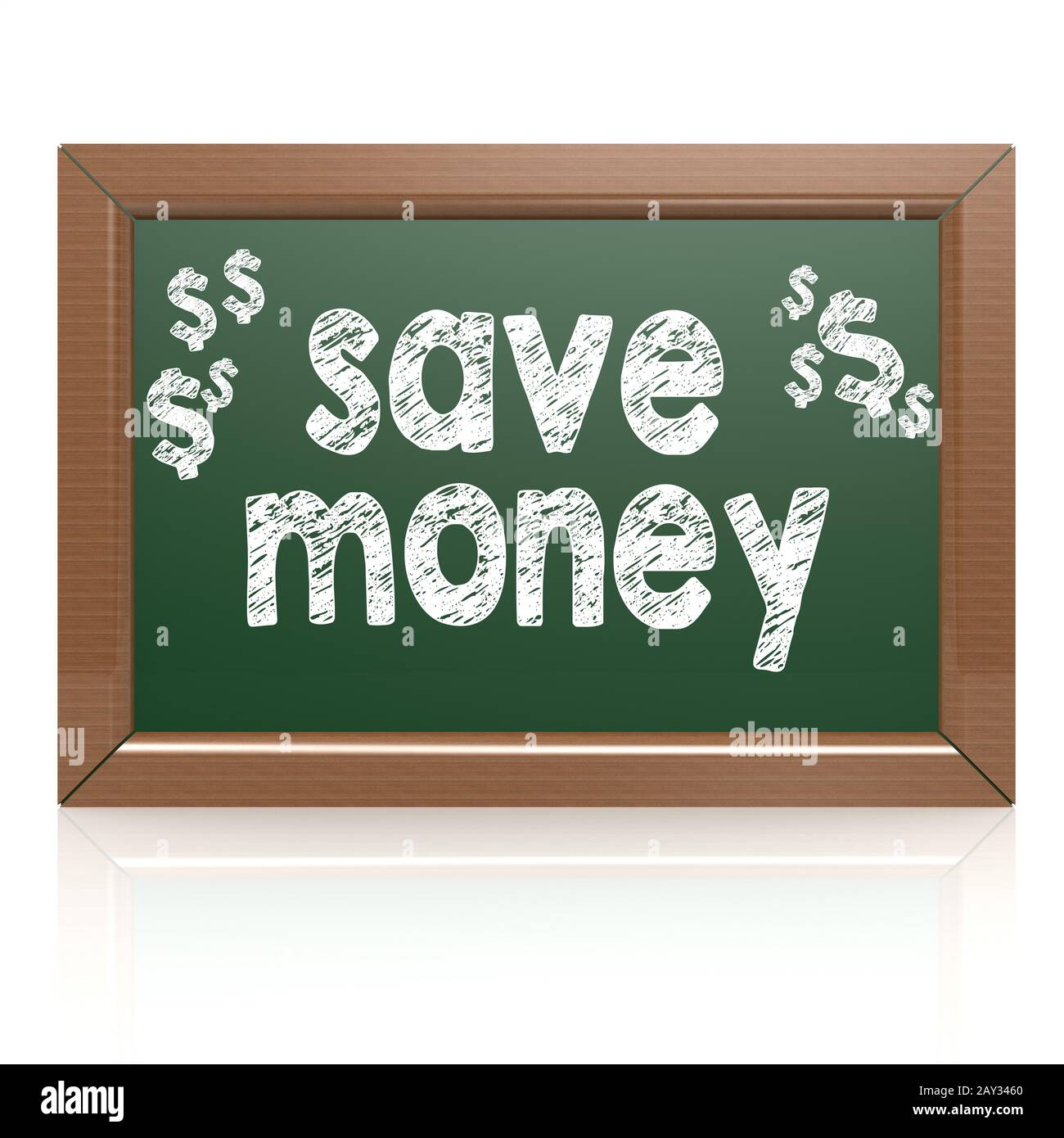 Save Money words on a chalkboard Stock Photo