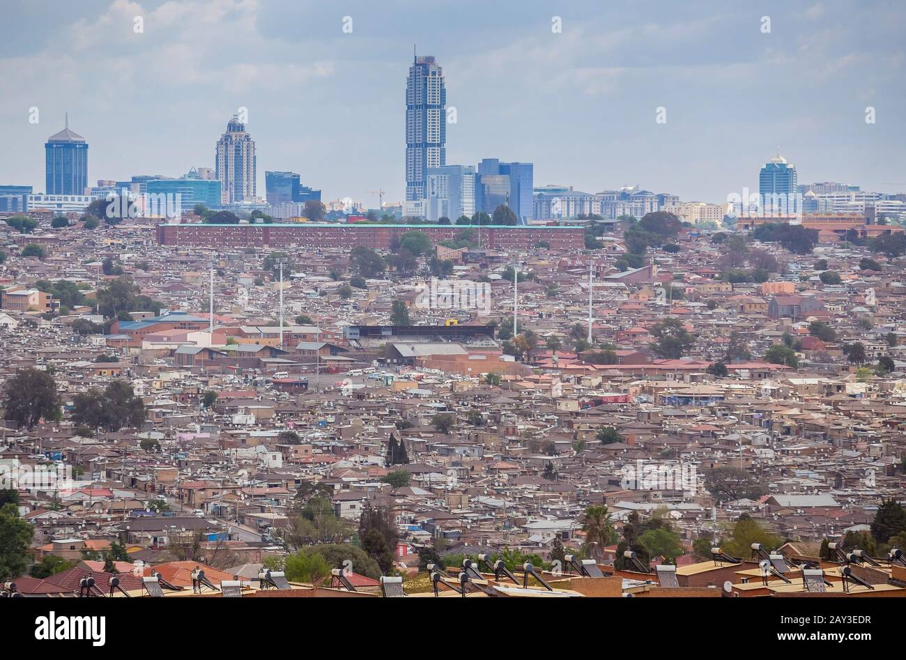 Johannesburg, South Africa, 4th October - 2019: View over Alexander township towards Sandton. Stock Photo