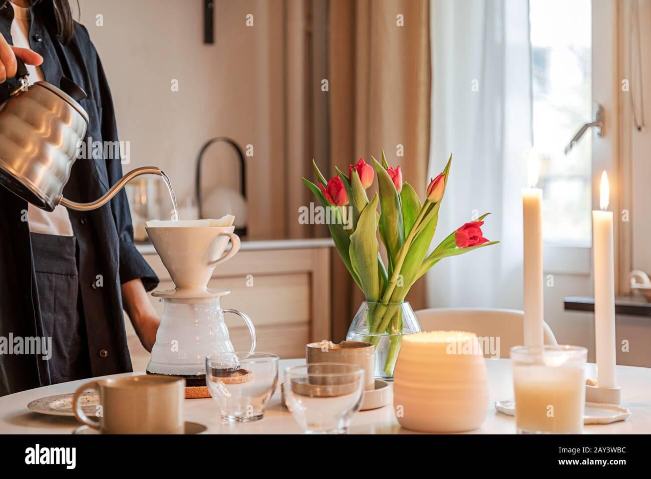 Coffee preparation on table Stock Photo