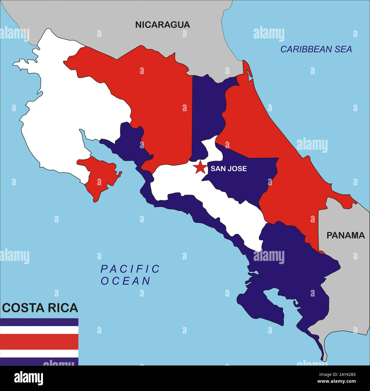 Costa Rica Map Stock Photo Alamy