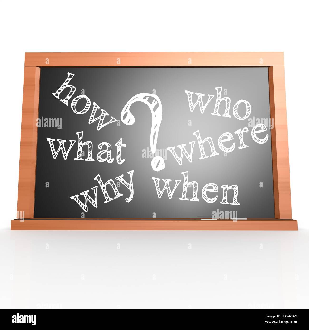 Where, When, What, Who, Why, How written with Chalk on Blackboard Stock Photo