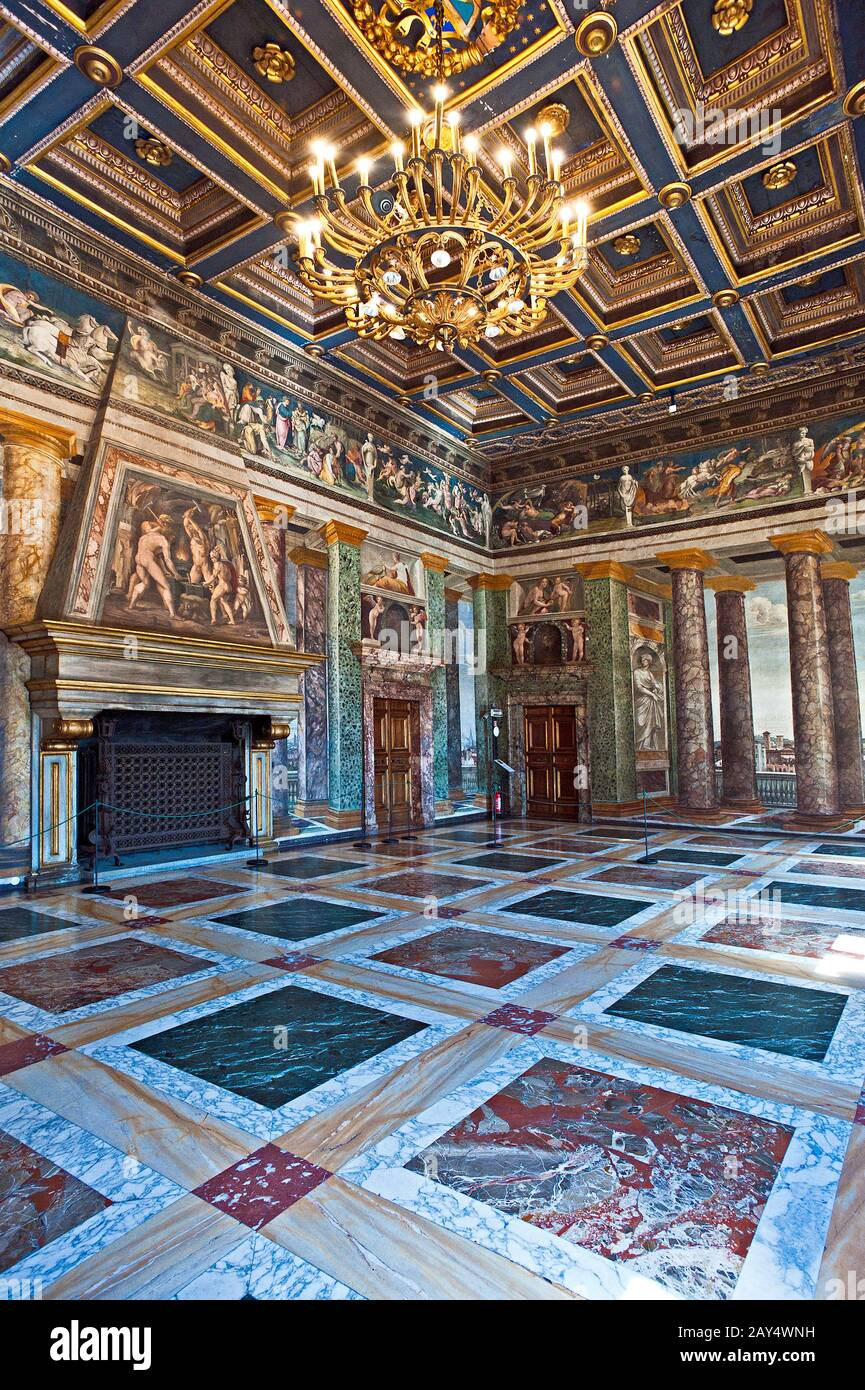 The hall of perspectives in villa Farnesina in Rome. Italy. Stock Photo