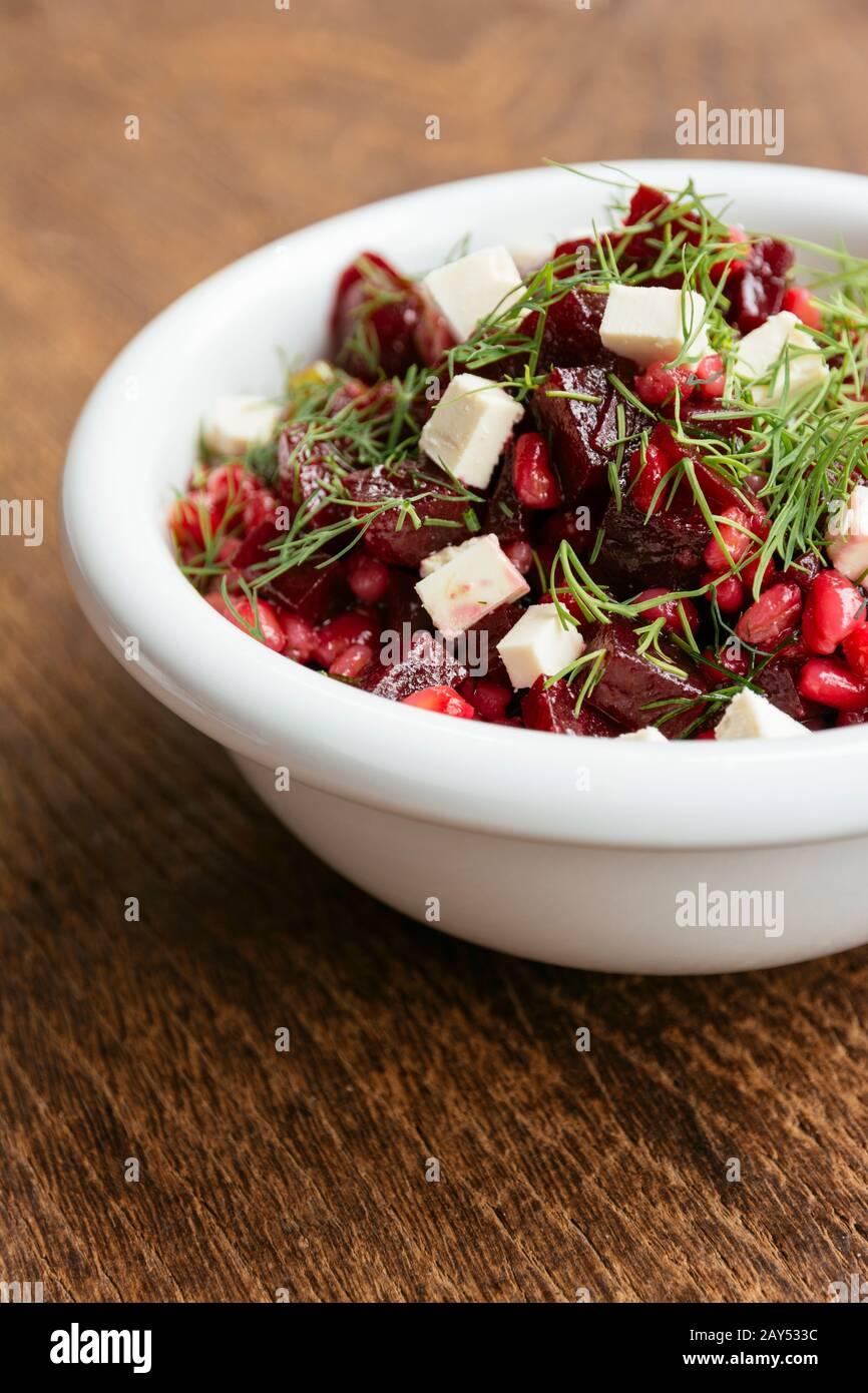 Beet and Barley Salad with Dill Dressing and Soy Cheese Stock Photo