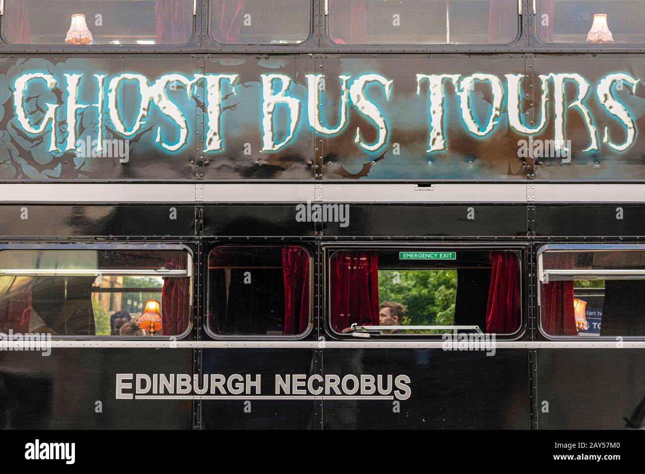 United Kingdom - Scotland Edinburgh - The Ghost Bus Tours - Comedy Horros Show Stock Photo