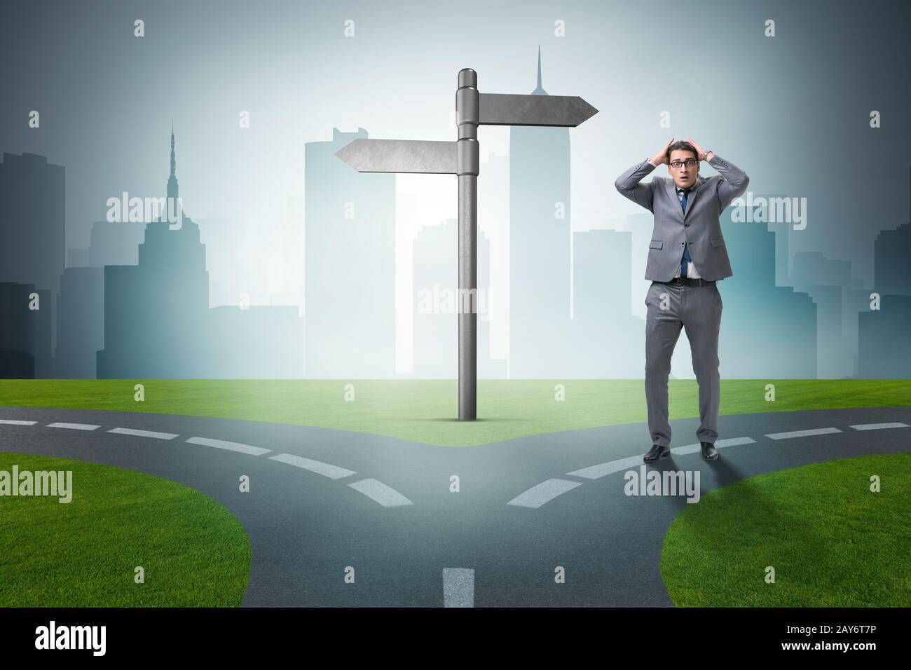 Businessman in difficult choice concept Stock Photo